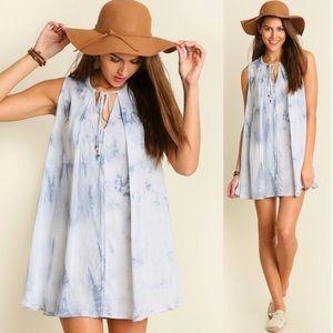 Umgee Light Blue Tie Dye Trapeze Dress Sz S